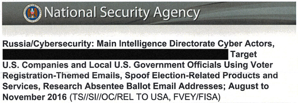 Top Secret NSA Report: Russia/Cybersecurity vs. US Election Systems